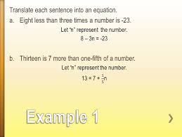 example 1 translate each sentence into an equation