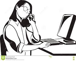 desk clipart black and white. Woman In Front Of A Computer Desk Clipart Black And White