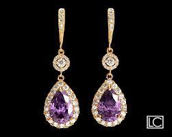 amethyst crystal gold chandelier earrings free us ship purple gold earrings amethyst teardrop halo earrings purple bridal wedding earrings 37 90 usd