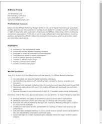 1 Affiliate Marketing Manager Resume Templates Try Them Now