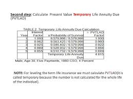 10 second step calculate present value temporary life