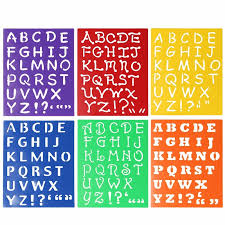 Printable Stencils For Kids Kids Capitall Alphabet Letter Drawing Templates 6pcs Washable