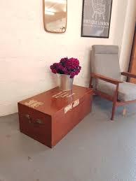 vintage solid teak travel trunk coffee table