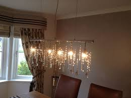 linear 5 light 38 inch bar pendant crystal chandelier
