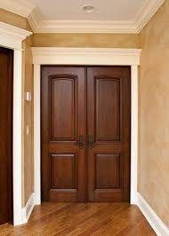 White Interior Doors With Stained Wood Trim Painting In The Door