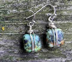 wire wrapped bead earrings running