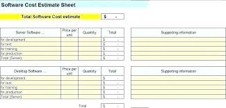Project Cost Estimate Template Spreadsheet Skincense Co
