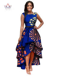 Blue African Dress Designs African Clothes For Women O Neck African Embroidery Bazin