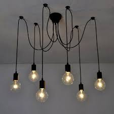 edison pendant lighting. Fuloon Vintage Edison Multiple Ajustable DIY Ceiling Spider Lamp Light Pendant Lighting Chandelier Modern Chic Industrial Dining With Remote Controller (6