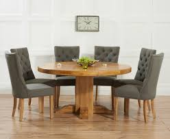 mark harris turin solid oak round dining set with 4 albury grey chairs 150cm