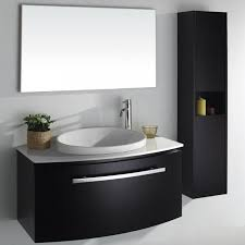 modern single bathroom vanity. single sink modern black bathroom vanity under large frameless mirror near tall shelf: