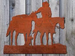 australian horseman metal wall art garden art