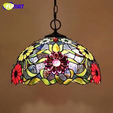 art glass lighting stained glass lamp style art glass flower lampshade pendant lights living room hotel