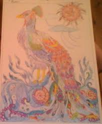 another page out of the color me 2 colouring book coloured with pencil crayon