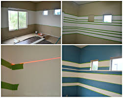 Striped painted walls Nursery Painting Stripes On The Wall Using Level Laser Fancy Frugal Life Blue And White Striped Painted Walls stylish Nautical Inspired Boys