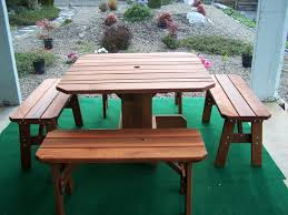 square redwood table with matching benches