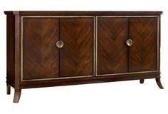 palisade four door sideboard maple and walnut veneers accented with gold give this sideboard its luxurious air with two adjule shelves behind the