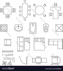 Furniture Linear Symbols Floor Plan Icons Vector ImageFurniture Icons For Floor Plans