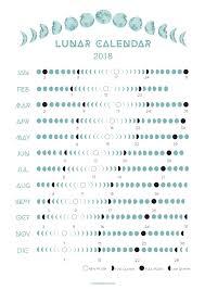 2018 Lunar Calendar On Etsy Moon Calendar Lunar Calendar