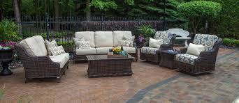 mila collection all weather wicker patio furniture deep seating set w swivel chairs squ coffee tbl