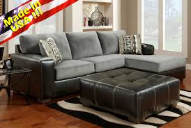 ulus black gray two toned sectional sofa chaise set made in usa