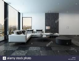 Minimalist Living Room 3d Rendering Of Spacious Minimalist Living Room With Dark Stone