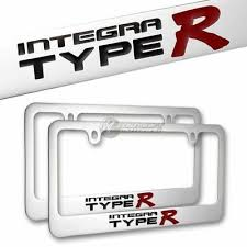 <b>2Pcs ACURA</b> INTEGRA TYPE R Chrome License Plate Frame Hand ...