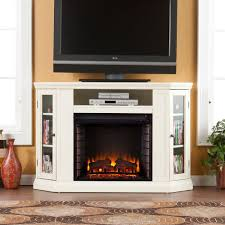 convertible media electric fireplace tv stand in ivory