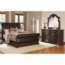 Wonderful Bedroom Furniture   Monticello 5 Piece Queen Upholstered Sleigh Bedroom Set    Pecan