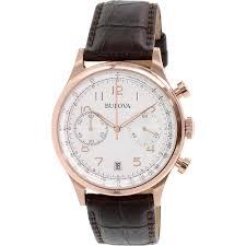 bulova men s rose tone brown leather strap chronograph watch