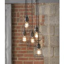 chic lighting fixtures. Industrial Cage Work Light Chandelier Chic Lighting Fixtures