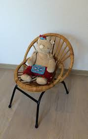 small child chair. Small Children Chair Of Bamboo, Rattan And Metal Feet Vintage Child 3