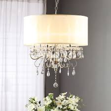 silver mist hanging crystal drum shade chandelier by inspire q