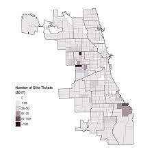 to enlarge the maps show the number of tickets written for biking on the sidewalk by chicago