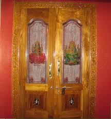 glass and wood door design pooja room door