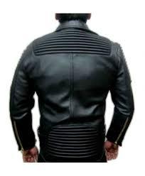 moto black leather balmain jacket lambskin back