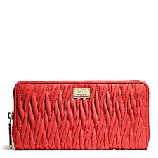 COACH f49609 MADISON GATHERED TWIST ACCORDION ZIP WALLET LIGHT GOLD LOVE RED