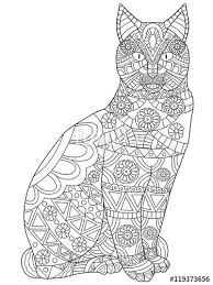 Cat Coloring Pages For Adults Printable Jokingartcom Cat Coloring