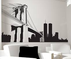 lovely round new york skyline wall decal circle sconce holder accent decoration nice presntation rustic modern