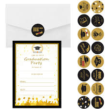 Design Grad Party Invites Hoosun 25 Sets Graduation Invitation Cards Graduation Announcement Cards 2019 Grad Party Invitations With Envelopes Stickers Pens For High School