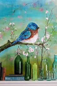 palette knife acrylic painting blue bird craftberry bush