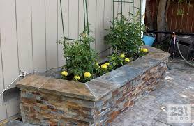 facing ledger stone planter boxes