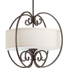 progress lighting overbrook collection 3 light antique bronze small pendant with natural linen shade