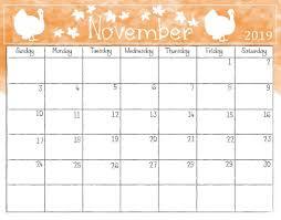 Cute November 2019 Calendar Printable Wallpaper For Kids