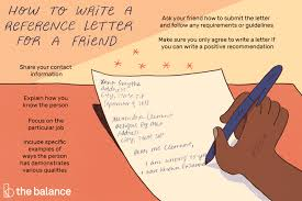 to write a reference letter for a friend
