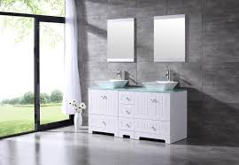 bathroom double 60 tempered glass vanity top cabinet solid wood w mirror faucet com