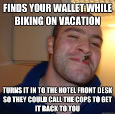 finds your wallet while biking on vacation turns it in to the ... via Relatably.com