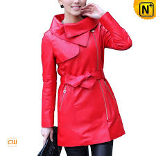 women s leather jacket designer fashion zipper front red real leather jackets cw676120