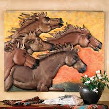 on metal horses wall art with sunset run horse metal wall art