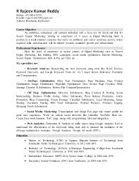 Digital Marketing Resume Sample Best Of Rajeev Digital Marketing Resume
